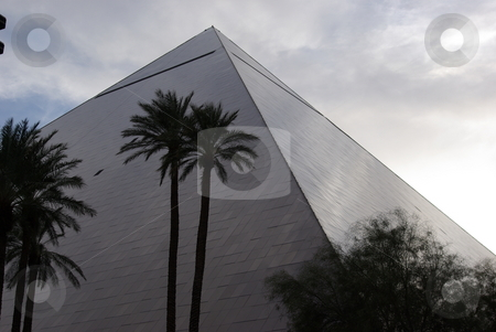 Luxor Pyramid Hotel stock photo, PYRAMID HOTEL - The pyramid shape of the Luxor Hotel and Casino in Las Vegas, NV also displays other imaginative architectural decor from the great Pharoah's tombs (TUT)of ancient Egypt.  It is hard to miss this structure on Las Vegas Boulevard (February, 2008) EDITORIAL USE ONLY by Dennis Thomsen