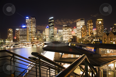 Night skyline Sydney, Australia stock photo, Night cityscape with buildings and harbor in Sydney, Australia. by Iofoto Images