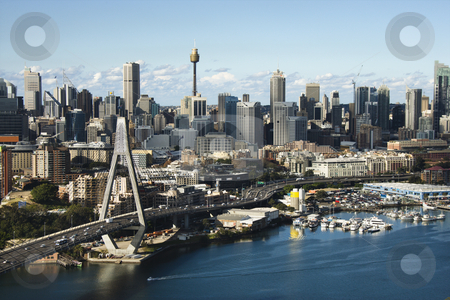 Sydney, Australia aerial. stock photo, Aerial view of Anzac Bridge and downtown buildings in Sydney, Australia. by Iofoto Images