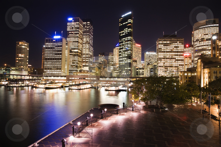 Sydney, Australia skyline stock photo, Cityscape of Sydney, Australia with harbor and buildings at night. by Iofoto Images