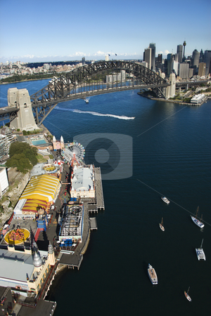 Sydney aerial, Australia. stock photo, Aerial view of Luna Park Sydney, Australia with boats in Sydney harbour and view of Sydney Harbour Bridge. by Iofoto Images