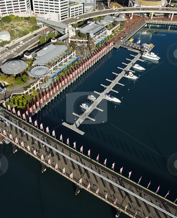 Pyrmont Bridge, Australia. stock photo, Aerial view of Pyrmont Bridge andboats in Darling Harbour, Sydney, Australia. by Iofoto Images