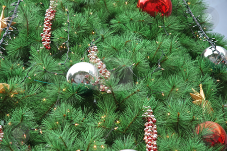 Christmas tree ornaments stock photo, Christmas tree closeup of fancy decorative ornaments by Kheng Guan Toh