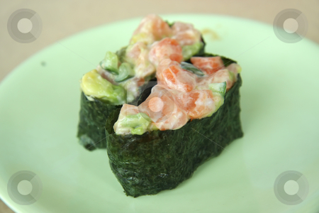 Salmon salad sushi stock photo, Salmon and avocado salad sushi japanese cuisine by Kheng Guan Toh