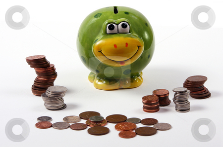 Frog style piggy bank with coins / cash arranged
