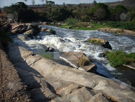 The Athi River - exposed boulders