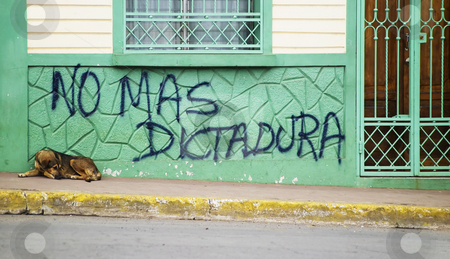 Anti government graffiti in Nicaragua stock photo, Dog sleeps in front of anti government grafitti in Granada Nicaragua by Scott Griessel