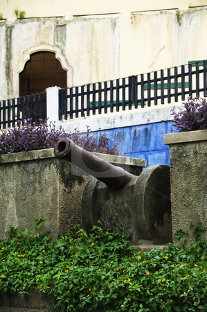 Cannon in Granada Nicaragua stock photo, Cannon placement on a stone wall in Granada Nicaragua by Scott Griessel