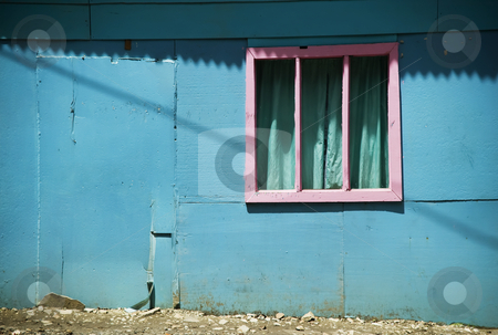Pink Window on a Blue Wall in Costa Rica stock photo, Pink Window on a Blue Wall in Monteverde Costa Rica by Scott Griessel