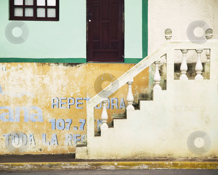 Street Detail from Granada Nicaragua stock photo, Stairs leading up from the street in Granada Nicaragua by Scott Griessel
