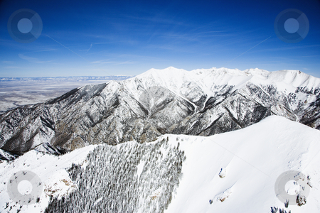 Snowy mountain landscape, Colorado. stock photo, Aerial scenic of snowy Sangre De Cristo Mountains, Colorado, United States in winter. by Iofoto Images