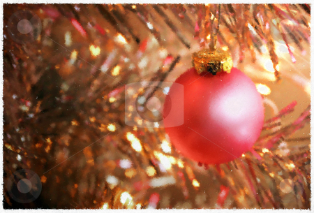 Painted Illustration: Pink Glass Christmas Ornament on Silver Tree stock photo, Decorative glass ball hangs from branch amidst glowing Christmas lights by Mark S
