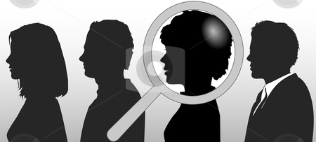 Magnifying Glass Chooses Silhouette Person in People Row stock vector clipart, A magnifying glass finds, selects or inspects a person in a line of silhouette people: search & choose for employment, recognition,  promotion, hire, etc. by Michael Brown