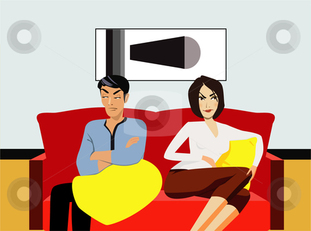 Couple sitting on sofa, looking angry stock vector clipart,  by R. B.