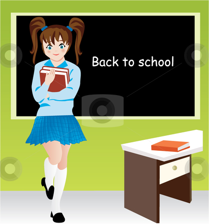 Girl at class stock vector clipart,  by R. B.