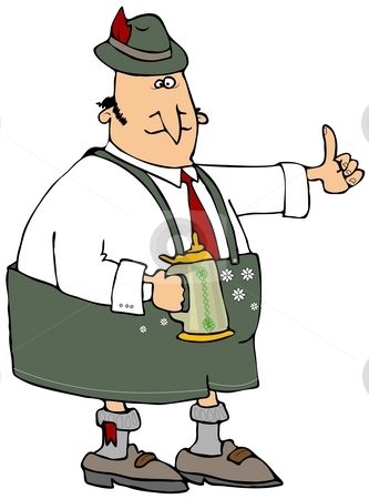 Oktoberfest Beer Man stock photo, This illustration depicts a man dressed in Bavarian attire carrying a beer stein. by Dennis Cox