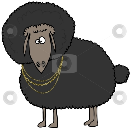 Black Sheep stock photo, This illustration depicts a black sheep with an Afro and wearing gold chains. by Dennis Cox