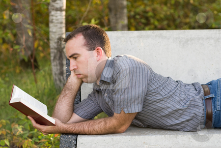 Reading A Book stock photo, A man lying on a bench reading a book by Richard Nelson