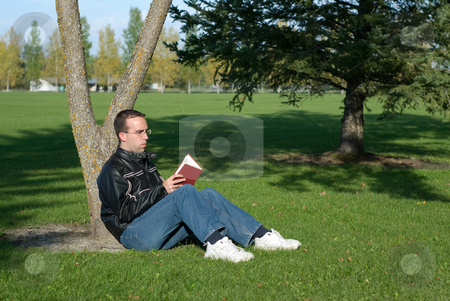 Man Reading By A Tree stock photo, A young man resting by a tree and reading a book by Richard Nelson
