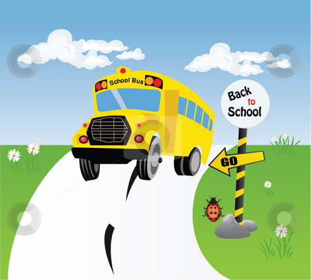 Bus school stock vector clipart,  by R. B.