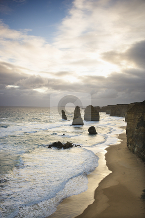 Land formation at coast. stock photo, Twelve Apostles rock formation on coastline as seen from the Great Ocean Road, Australia. by Iofoto Images