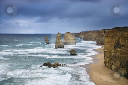 Rock formation on coast. stock photo, Twelve Apostles rock formation on coastline as seen from the Great Ocean Road, Australia. by Iofoto Images