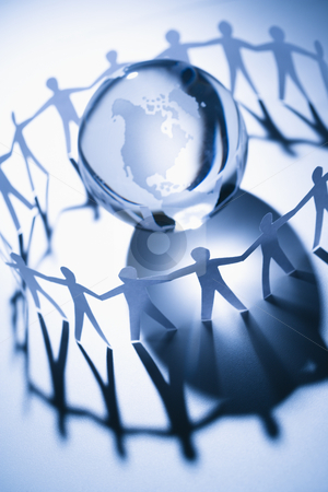 Common good stock photo, Cutout paper people standing around globe holding hands. by Iofoto Images