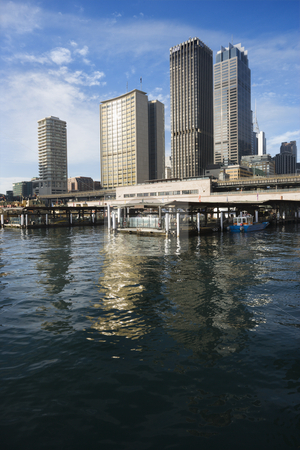 Sydney Cove, Australia. stock photo, Circular Quay Railway Station in Sydney Cove with view of downtown skyscrapers in Sydney, Australia. by Iofoto Images