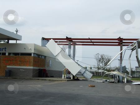 Hurricane Damaged Gas Station stock photo, Gas Station severely damaged by Hurricane Ike. by Marburg