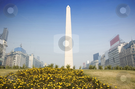 Buenos Aires Obelisk stock photo, In the center of Buenos Aires, Argentina, stands this obelisk, an historic monument commemorating the 400 year anniversary of the city. by Lee Torrens
