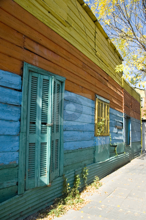 Exterior wall in La Boca Buenos Aires stock photo, A colorfully painted exterior wall of a building in the historic area of La Boca in the Argentinean capital Buenos Aires by Lee Torrens