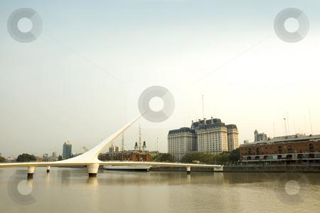 Puente de la mujer, Buenos Aires stock photo, Puente de la mujer - Women's Bridge crossing Puerto Madero in Buenos Aires, the capital of Argentina. by Lee Torrens