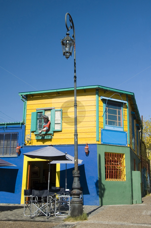 La Boca Buenos Aires stock photo, Colorful buildings decorate a street corner of the historic area of La Boca in the Argentinean capital Buenos Aires by Lee Torrens