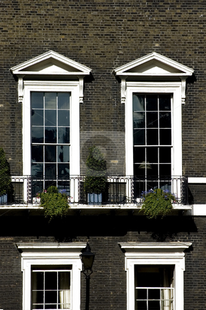 Typical London Windows stock photo, Facade of a typical London flat by Lee Torrens
