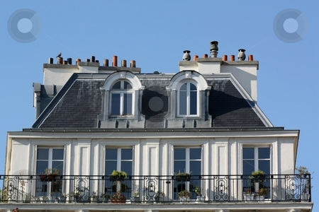 Top of an ancient building stock photo, Top of an ancient traditional building in Paris - France by Gautier Willaume