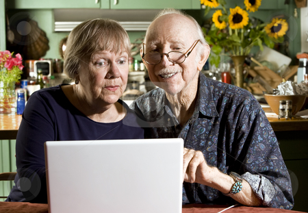 Senior Couple with a Laptop Computer stock photo, Senior Couple in their Dining Room with a Laptop Computer by Scott Griessel