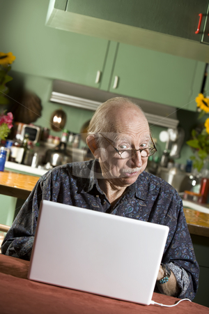 Senior Man with a Laptop Computer stock photo, Senior in Dining Room with a Laptop Computer by Scott Griessel
