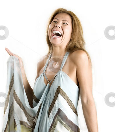 Ethnic woman on white background stock photo, Pretty ethnic woman laughing on a white background by Scott Griessel