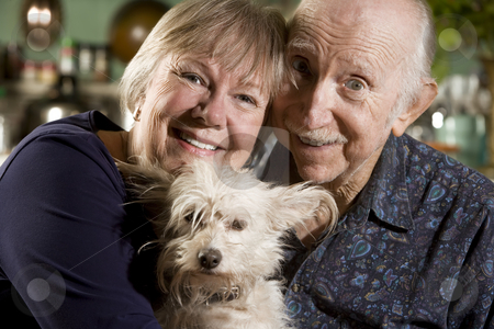 Portrait of Senior Couple with Dog stock photo, Close Up Portrait of Senior Couple with Dog by Scott Griessel
