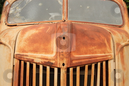 Big Old Truck stock photo, Big truck put out to pasture and aged by rust by Jack Schiffer