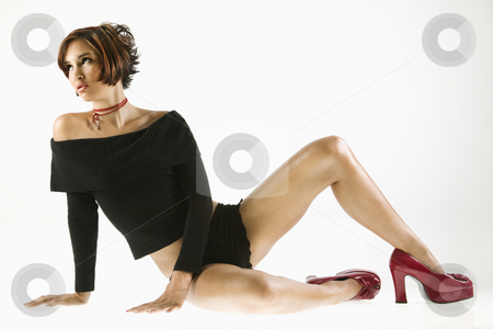 Young woman. stock photo, Pretty Caucasian young woman posed in studio. by Iofoto Images