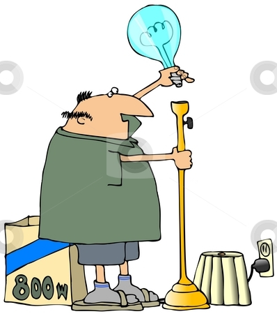High Powered Lamp stock photo, This illustration depicts a man putting a huge bulb into a floor lamp. by Dennis Cox