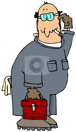 Puzzled Mechanic stock photo, This illustration depicts a man with a puzzled expression in coveralls and carrying a toolbox. by Dennis Cox