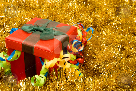 Christmas Present stock photo, A Christmas present in a festive holiday box. by Robert Byron