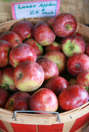 Apples for Sale stock photo, Red apples in a basket, for sale at the farmers market in Autumn by Tom and Beth Pulsipher