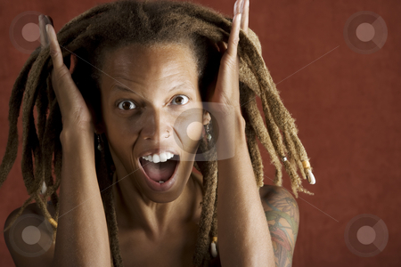 Shocked African American Woman stock photo, Shocked African American Woman with Hair in Dreadlocks by Scott Griessel
