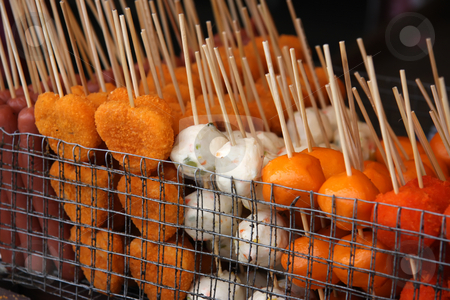 Street food skewers stock photo, Skewered fried meat and balls on sticks, asian street food by Kheng Guan Toh
