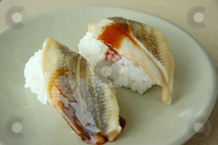 Unagi sushi stock photo, Unagi sushi on plate grilled eel on rice by Kheng Guan Toh