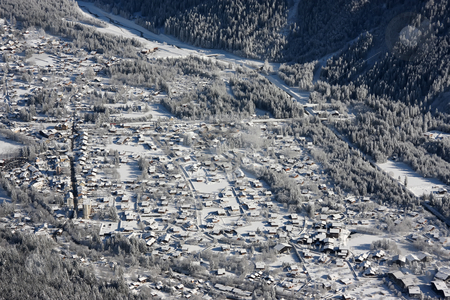 Ski resort town stock photo, Panoramic view of Chamonix ski resort town in the French Alps by Kheng Guan Toh