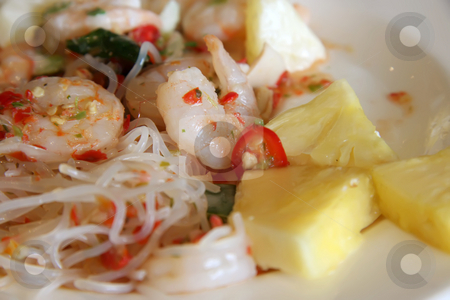 Thai prawn salad stock photo, Spicy thai salad with whole prawns and noodles by Kheng Guan Toh